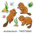 Stock vector vector set with isolated beavers in different poses cute animals in cartoon style 740573860