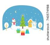 winter holidays illustration... | Shutterstock .eps vector #740574988