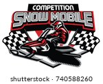 snow mobile competition badge... | Shutterstock .eps vector #740588260