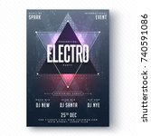 electro party flyer or banner...   Shutterstock .eps vector #740591086