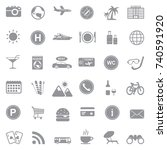 tourist and travel icons. gray... | Shutterstock .eps vector #740591920