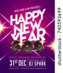 happy new year party poster ... | Shutterstock .eps vector #740593699