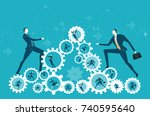 two businessmen climbing up on... | Shutterstock .eps vector #740595640