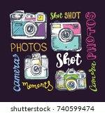 hand drawn pattern retro camera.... | Shutterstock .eps vector #740599474