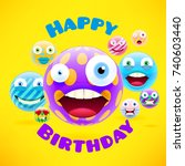 happy birthday design with... | Shutterstock .eps vector #740603440