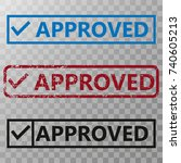 approved stamp vector... | Shutterstock .eps vector #740605213