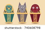 canopic jar sphinx from egypt... | Shutterstock .eps vector #740608798