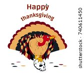 happy thanksgiving day  cute...   Shutterstock .eps vector #740611450