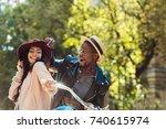 affectionate interracial couple ... | Shutterstock . vector #740615974