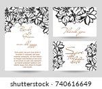 romantic invitation. wedding ... | Shutterstock . vector #740616649