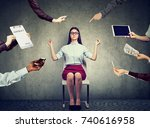 young business woman is... | Shutterstock . vector #740616958