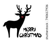 raster black christmas deer...   Shutterstock . vector #740617936