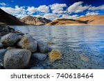 pangong lake with clouds sky... | Shutterstock . vector #740618464
