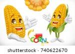 corn  cartoon character. food... | Shutterstock .eps vector #740622670