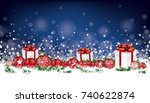christmas header with baubles ... | Shutterstock .eps vector #740622874