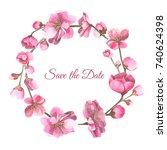 watercolor cherry wreath | Shutterstock . vector #740624398