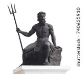 Small photo of Poseidon or Neptune a statue sitting on a rock, holds a three-pronged weapon isolated on white background. This has clipping path.