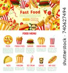 fast food menu poster or... | Shutterstock .eps vector #740627494