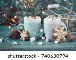 hot chocolate with marshmallows ... | Shutterstock . vector #740630794