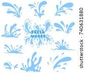 water drops set. splash of blue ...   Shutterstock .eps vector #740631880