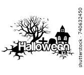 halloween vector illustration... | Shutterstock .eps vector #740632450
