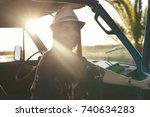 summer holidays  road trip ... | Shutterstock . vector #740634283