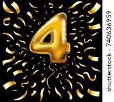 vector happy birthday gold... | Shutterstock .eps vector #740636959
