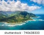 view on napali coast on kauai... | Shutterstock . vector #740638333