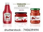 tomato sauce and ketchup... | Shutterstock .eps vector #740639494