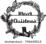 beautiful christmas wreath with ... | Shutterstock .eps vector #740640013