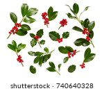 christmas holly with red... | Shutterstock . vector #740640328