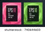 set of abstract colorful... | Shutterstock .eps vector #740644603