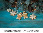 christmas homemade gingerbread... | Shutterstock . vector #740645920