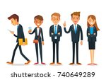 vector set of business people  | Shutterstock .eps vector #740649289