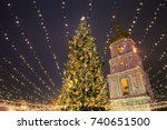 christmas tree with lights... | Shutterstock . vector #740651500
