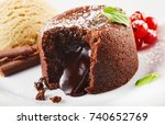 close up view of lava cake... | Shutterstock . vector #740652769