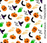 seamless pattern for halloween... | Shutterstock .eps vector #740652898