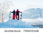 couple snowboarders   man and... | Shutterstock . vector #740653168