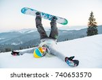 excited young snowboarder woman ... | Shutterstock . vector #740653570