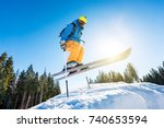 low angle shot of a skier... | Shutterstock . vector #740653594