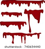 set of various dripping blood... | Shutterstock .eps vector #740654440