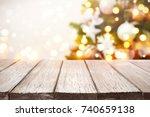 christmas background. wooden... | Shutterstock . vector #740659138