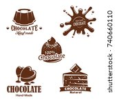 chocolate desserts  candy and... | Shutterstock .eps vector #740660110