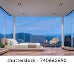 night scene glass house bedroom ... | Shutterstock . vector #740662690