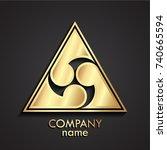 3d golden triangle japan style...   Shutterstock .eps vector #740665594