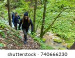 group of tourists with... | Shutterstock . vector #740666230
