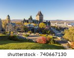 frontenac castle in old quebec... | Shutterstock . vector #740667130