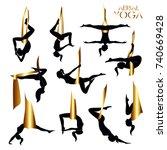 gold flying yoga logo templates ... | Shutterstock .eps vector #740669428
