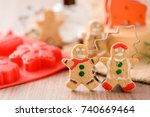christmas food. gingerbread man ... | Shutterstock . vector #740669464