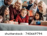 large family looking how little ... | Shutterstock . vector #740669794